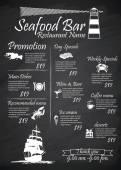 Menu Seafood restaurants Signs,Posters, blackboard — Stockvektor