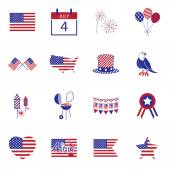 Happy independence day line icons United States of America, 4 th — Stock Vector