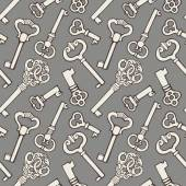 Seamless pattern with outline vintage keys — Stock Vector