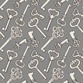 Seamless pattern with outline vintage keys — 图库矢量图片