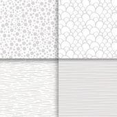 Simple neutral monochrome seamless patterns set — Stock Vector