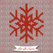 Seamless pattern with knitted snowflake — Stockvektor