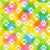 Seamless pattern with watercolor animal footprint texture — Vetor de Stock