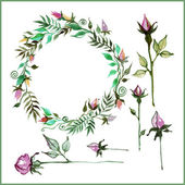Květinový věnec akvarel — Stock vektor