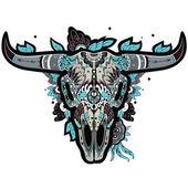 Buffalo Skull cool — Stock Vector
