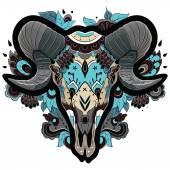 Cool Ram Skull — Stock Vector