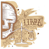 Engraving libra — Stockvector