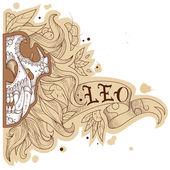 Engraving lion — Stock Vector