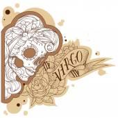 Engraving virgo — Stock Vector