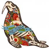 Walrus skeleton — Stock Vector