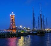 Beautiful sunrise in the harbor of Enkhuizen, Netherlands — Stock Photo
