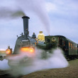 Departure evening steam train from Medemblik to Hoorn, Netherlands — Stock Photo #59291433
