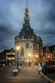 Hoofdtoren or The Main Tower in the town of Hoorn in the evening, Netherlands — Стоковое фото