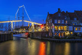 Evening Christmas decoration of  Enkhuizen, The Netherlands — Stock Photo