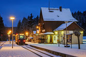 A small railway station on a winter evening, Germany — Stock Photo