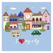 I love my city.Illustration with building and cars. — Stock Vector #53981443