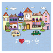 I love my city.Illustration with building and cars. — Stock Vector