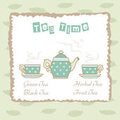 Tea time illustration with teapots and cups. — Vector de stock