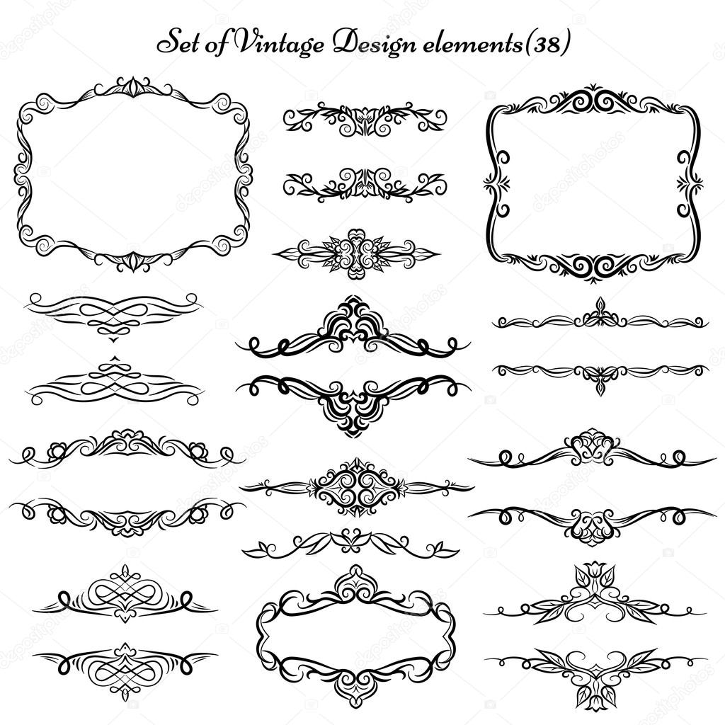 Set of Decorative Vintage elements and borders. — Stock Vector ...