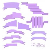 Set of 12 vector ribbons — Stock Vector
