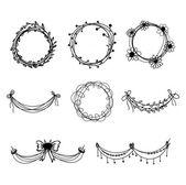 Set of black hand-drawn floral  design elements — Stok Vektör