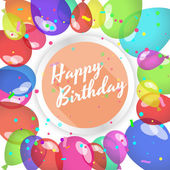 Happy birthday card. Balloons and confetti. — Stock Vector