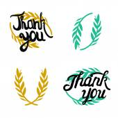 Thank you hand lettered signs with olive branch — 图库矢量图片