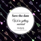 De datum bruiloft uitnodiging opslaan. — Stockvector