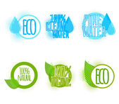 Set of six clear water and ecology labels — Stock Vector