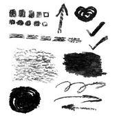 Set of vector charcoal design elements — Stock Vector