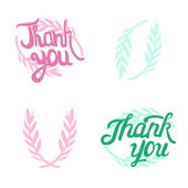 Thank you hand lettered signs with olive — Stock Vector