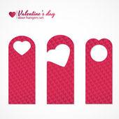 Set of three valentines day themed door hangers — Stock Vector