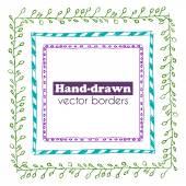 Hand drawn vector borders set — Stock Vector