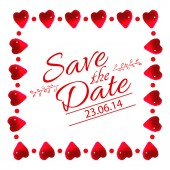 Save the date card with heart frame — Stock Vector