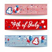 4th of july vector set of cards — Stock Vector