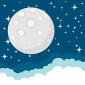 Full Moon in the Starry Cosmic Dark Blue Sky with Space for Text — Stock Vector