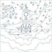 Cartoon Flying Rocket in the Sky.  Contour vector — Stockvektor
