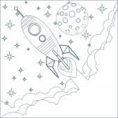 Kreskówka rakiet, Księżyc w niebo z miejsca dla tekstu — Wektor stockowy