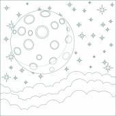 Ilustracja kreskówka księżyc z miejsca dla tekstu w chmurach — Wektor stockowy