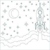 Rakiety, Księżyc w niebo z miejsca dla tekstu — Wektor stockowy