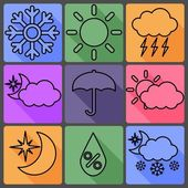Weather Vector Icons on a Colored Background, with Shadows — Stock Vector
