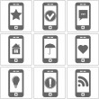 Simple Icons of Phones with Different Images, Vector — Stock Vector #56998983