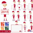 Santa Girl with Gifts and poster, Vector — Stock Vector #58187585