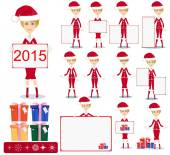 Santa Girl with Gifts and poster, Vector — Stock Vector