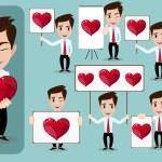 Set of vector cartoon man in love, with hearts. Stock Vector  Illustration — Stock Vector #61568187