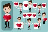 Set of vector cartoon man in love, with hearts. Stock Vector  Illustration — Stock Vector