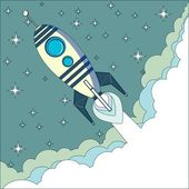 Flying Rocket with space for text — Stockvector