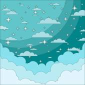 Night Sky with Stars in the Clouds. Stock Vector Illustration — Stockvektor