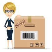 Business woman pointing to a large cardboard box. — Stock Vector