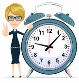 Smiling modern business woman showing victory gesture and standing with a big  alarm clock — Stock Vector
